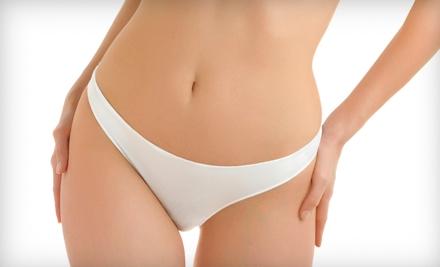 Trained aestheticians groom pelvic regions with traditional bikini waxes or ...