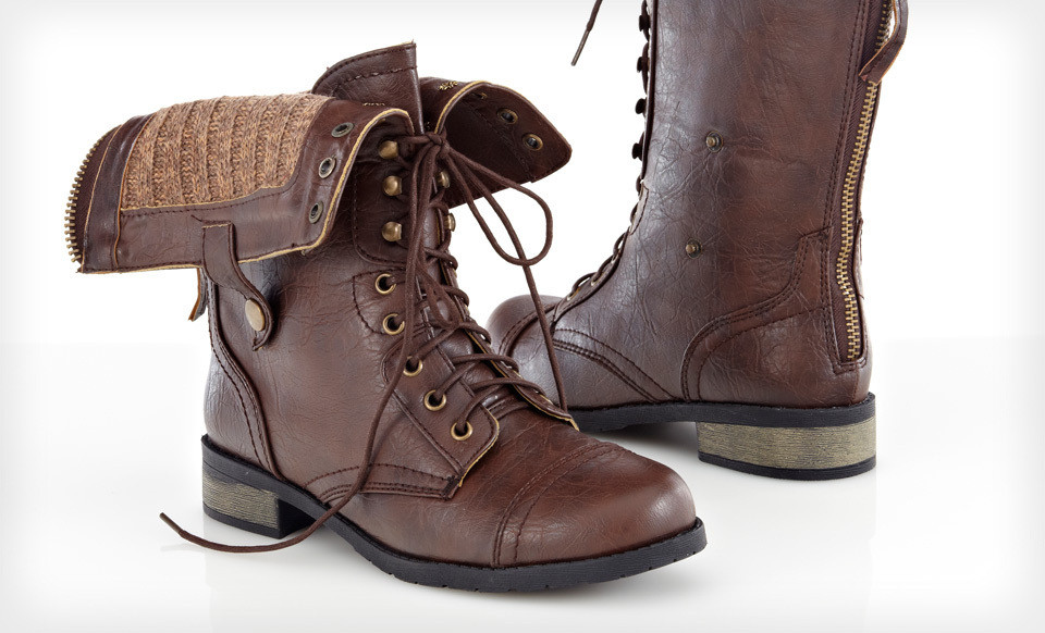 Brown Leather Combat Boots - Yu Boots