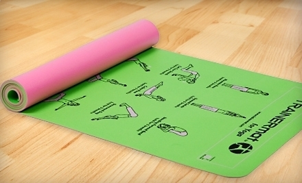 TrainerMat for Yoga: Green Pro Plus (a $30 value) - TRAINERmats with Printed Exercise Illustrations for Yoga, Abs, Pilates, or Weight Loss in