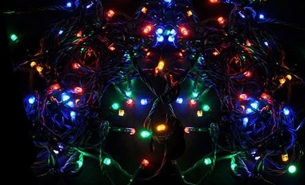 Multicolor String of 64 LED Battery-Powered Lights: One Set (a $40 value) - LED Battery-Powered Lights from Lamplust in