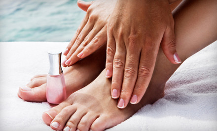 1 Shellac Manicure and Deluxe Pedicure (a $75 value) - Luxury Nail Spa and Salon in Peabody