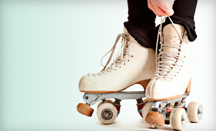 Skate Rental and Admission for 2 ($6 each) and 2 Slices of Pizza & 2 Sodas ($8 value; a $20 total value) - River Roll Skate Center in Riverside