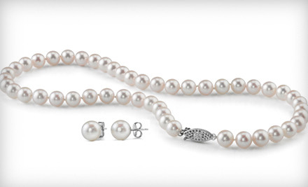 1 Pair of 7- to 8-Millimeter White Cultured-Pearl Stud Earrings (a $69 value) - Laguna Pearl in