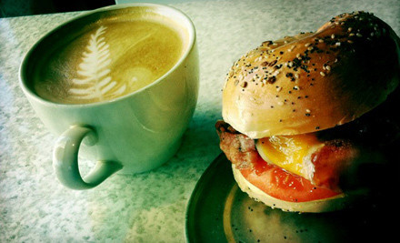 Breakfast for Two, Including Two Breakfast Bagel Sandwiches and Two Specialty Coffees - Bagel Club Marina in San Diego