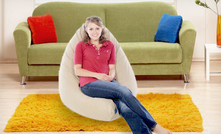 Large RelaXer Pillow Chair: Twill in Midnight Black (a $149 value) - Oversize Pillow Chair in