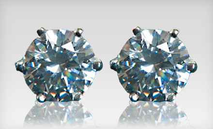 Groupon Goods - Sterling Silver Earrings Made with Swarovski Zirconia in