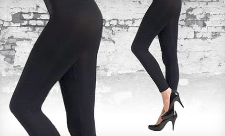 Groupon Goods - Seamless Black Cotton Leggings in