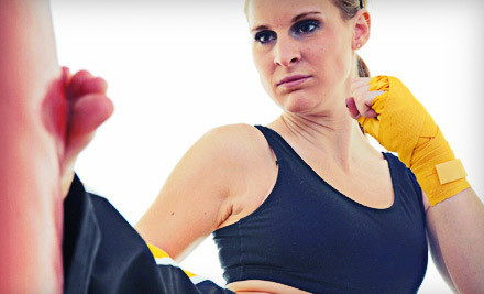 Five-Class Pass to Power Fit Kick Boxing or Women's Self Defense (a $75 value) - Tiger's Den Martial Arts & Fitness in Houston