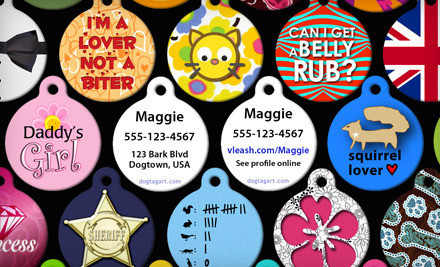 1 Custom-Made Pet-Identification Tag, Including Shipping, and a Lifetime Virtual Leash Membership (a $102.98 value) - Dog Tag Art in