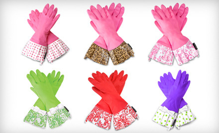 Pink Gloves with a Leopard Cuff - Gloveables Retro Kitchen Gloves in