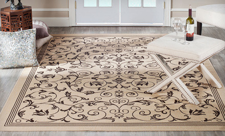 Two Safavieh Courtyard Collection Indoor/Outdoor Rugs: Border Lines in Chocolate/Natural - Two Safavieh Indoor/Outdoor Rugs in