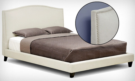 Upholstered Platform Bed: Queen-Sized Aisling with Cream Fabric (a $1,105 value) - Upholstered Platform Beds in