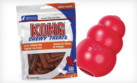 Groupon: Kong Classic Dog Toy and Chewy Treats (Up to 48% Off)