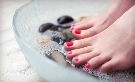 Spa manicure, hot-stone pedicure, and use of rain shower, sauna, and whirlpool - Pure Spa and Salon in Dallas