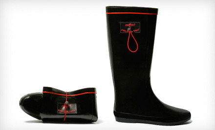 IMAGE Red Foot Shoes foldable rainboots  medium $34 for Redfoot Folding Wellington Boots in Black Patent ($99 List Price). Six Sizes Available.