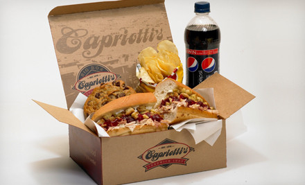 The regular or catering menu at capriotti s sandwich shop half off
