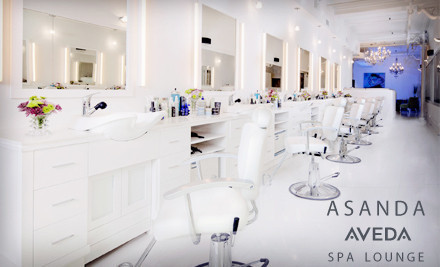 1 salon package with shampoo, blowout, makeup application, and choice of hair treatments - Asanda Aveda Spa Lounge in Manhattan