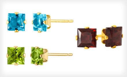 $19 for Gemstone Stud Earrings. Multiple Styles and Gems Available. Free Shipping and Free Returns