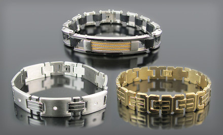 $15 for a Men's Stainless Steel Bracelet. 28 Options Available. Free Shipping and Free Returns