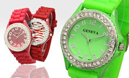 $7.99 for a Geneva Women's Crystal-Embellished Watch. 13 Options Available. Free Returns
