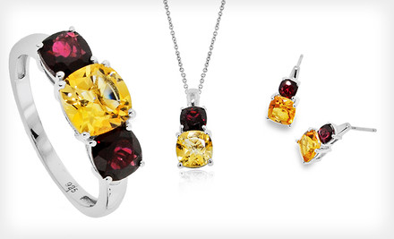 $19.99 for Citrine and Garnet Earrings, Pendant Necklace, or Ring. Free Shipping and Returns
