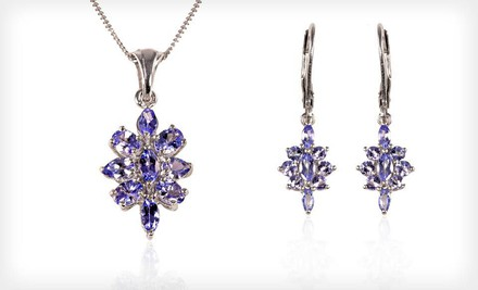 $19.99 for Tanzanite-Cluster Earrings or Pendant Necklace. Free Shipping and Free Returns